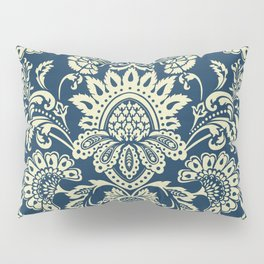 damask in white and blue vintage Pillow Sham