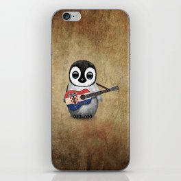 Baby Penguin Playing Croatian Flag Guitar iPhone Skin