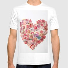 Sending Out A Love Letter - Stamps MEDIUM Mens Fitted Tee White