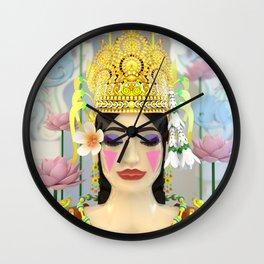 The Meditating Apsara Wall Clock