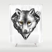 bad wolf Shower Curtains featuring The Bad Wolf by Fla'Fla'