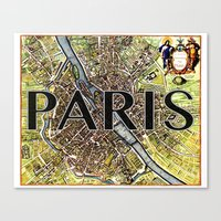 City of Paris Circa 1650 Canvas Print