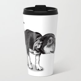 Cute cautious puppy wagging it's tail. Travel Mug