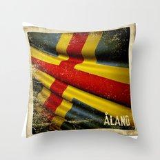 Grunge sticker of Aland Islands flag Throw Pillow