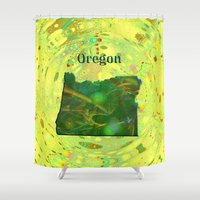 oregon Shower Curtains featuring Oregon Map by Roger Wedegis
