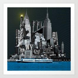 Suva Best of New York Night Art Print