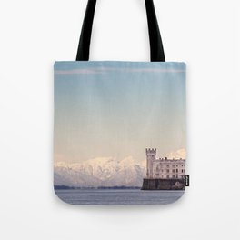 Miramar Castle with Italian Alps in background. Trieste Italy Tote Bag
