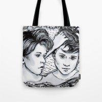 tegan and sara Tote Bags featuring Tegan & Sara by JenHoney