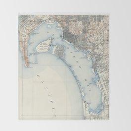 Vintage Map of San Diego California (1902) Throw Blanket