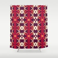 burgundy Shower Curtains featuring burgundy edge by design lunatic