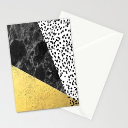 Mele - gold abstract painting art decor dorm college trendy hipster foil glitter black and white dot Stationery Cards