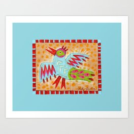 Zig Zag Abstract Blue Bird Art Print