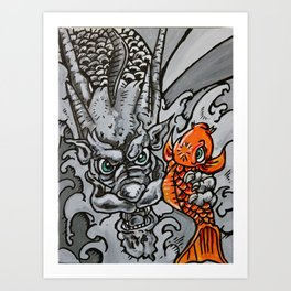 Dragon Catches Koi in the Waterfall of Life Art Print