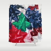bows Shower Curtains featuring Christmas Bows by Jessica Gawinski