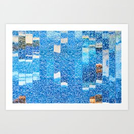Air bubbles in blue water Art Print