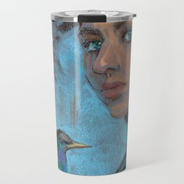 A girl with a starling Travel Mug