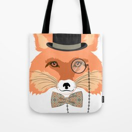 Fox with hat and monocle Tote Bag