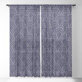 Japanese Sashiko Wave Pattern Sheer Curtain