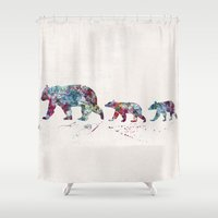 bears Shower Curtains featuring Bears by Watercolorist