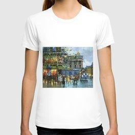 Paris Cafes and Opera House, Autumn, France landscape painting T-shirt