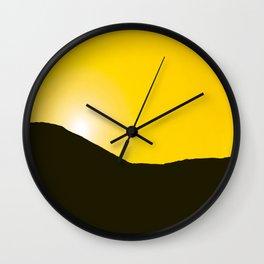 Mountain silhuette - sunrise sky - black rockymountain on yellow background - #Society6 #buyart Wall Clock