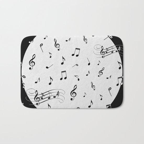 Music Black and White Bath Mat