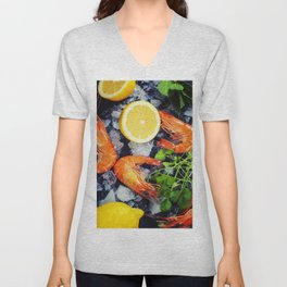 Tiger Shrimps on Ice with lemon and herbs Unisex V-Neck