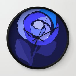 Blue Flower Collage Wall Clock
