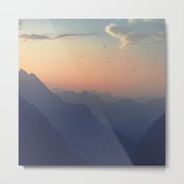 Misty Mountain Sunrise - Swiss Alps Metal Print