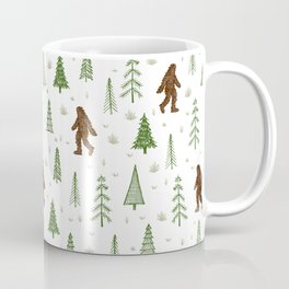 trees + yeti pattern in color Coffee Mug