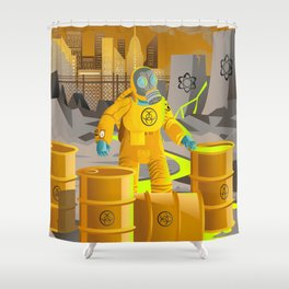 biohazard suit man with barrels near nuclear meltdown in powerplant Shower Curtain
