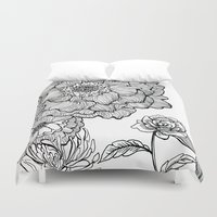 alisa burke Duvet Covers featuring flower line drawing by Alisa Burke