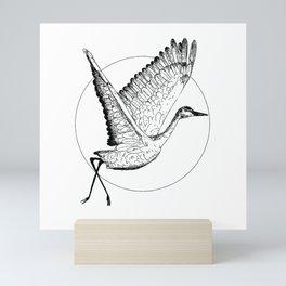 Flying Sandhill Crane Black And White Illustration / Crane Bird Drawing / Flying Crane Mini Art Print