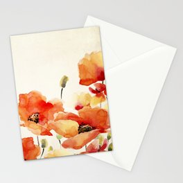 Poppy Flower Meadow- Floral Summer lllustration Stationery Cards