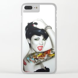 'Ruby Rose Mosaic' Clear iPhone Case