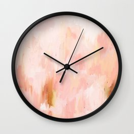 Abstract minimal peach, millennial pink, white and gold painting Wall Clock