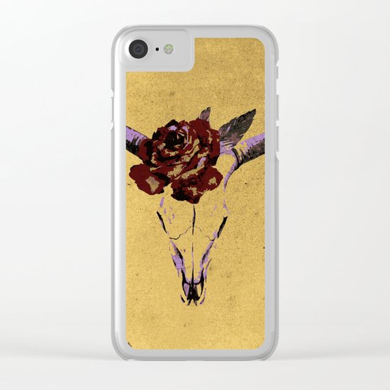 Grunge Animal Skull Clear iPhone Case