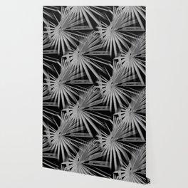 Gray Grey On Black Tropical Vibes Beach Palmtree Vector Wallpaper