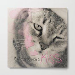 Kitty Cat Kiss Metal Print