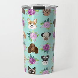 Dogs and cats pet friendly floral animal lover gifts dog breeds cat ladies Travel Mug
