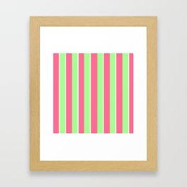 Vintage Victorian Pink Green and White Stripes - Vertical Framed Art Print