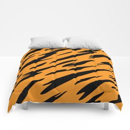 Bold and Beautiful Black and Orange Abstract Tiger Striped Pattern Comforters