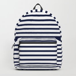 Navy Blue Nautical Stripes Minimal Backpack