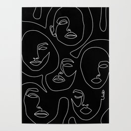 Faces in Dark Poster