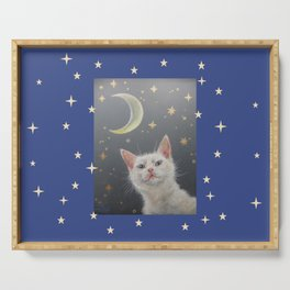 White cat at night Serving Tray