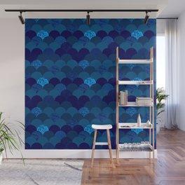Dark royal blue mermaid scales Wall Mural