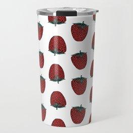 Strawberry fruit pattern by andrea lauren red minimal fruits strawberries Travel Mug