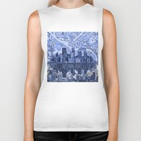 pittsburgh Biker Tanks featuring pittsburgh city skyline by Bekim ART