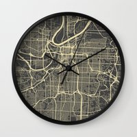kansas city Wall Clocks featuring Kansas City map by Map Map Maps