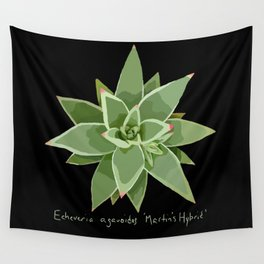 Succulent Species Echeveria agavoides 'Martin's Hybrid' Black Wall Tapestry